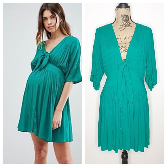13f7c43157d9a ASOS Maternity Dresses & Skirts - ASOS Maternity 2 Green Flutter Sleeve  Dress